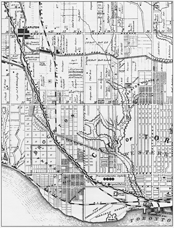 Detail showing path of the Garrison Creek, 1878 Illustrated Historical Atlas of the County of York